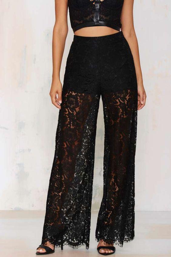 black lace pants crop top