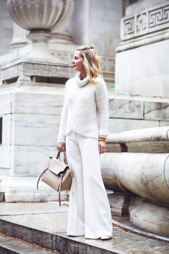 white fluffy sweater all white