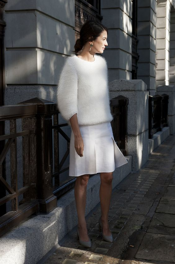 white fluffy sweater skirt