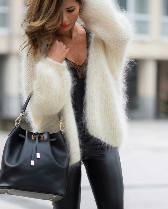 white fluffy sweaters in leather pants