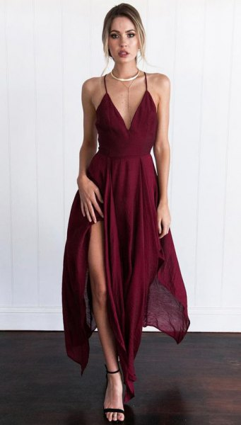 burgundy deep v-neck high split maxi dress