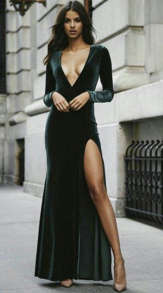 black deep v-neck velvet maxi dress