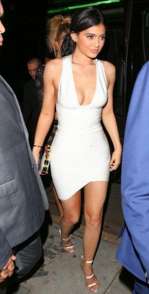 white deep v-neck bodycon dress