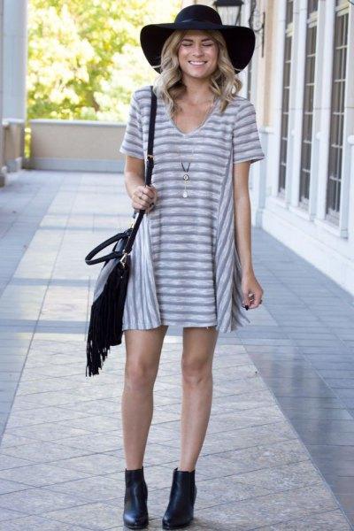 gray and white striped v-neck t-shirt dress