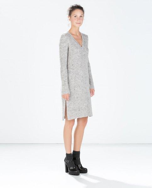 gray v-neck knit sweater dress
