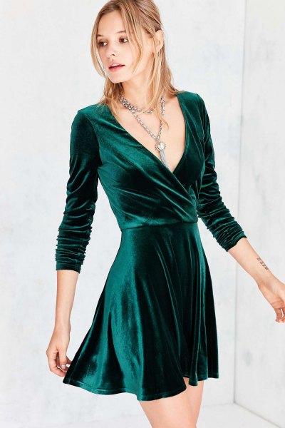 black velvet dress in v-neck