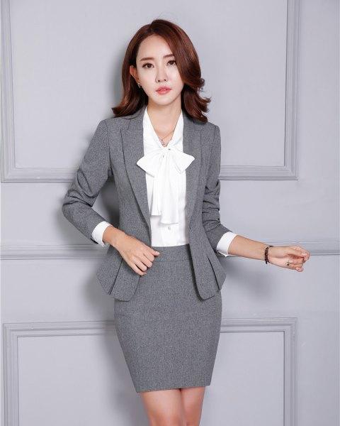 two-piece gray blazer pencil skirt