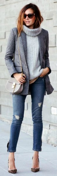 gray turtleneck cable knit sweater