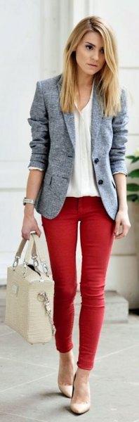 heather gray blazer red skinny jeans