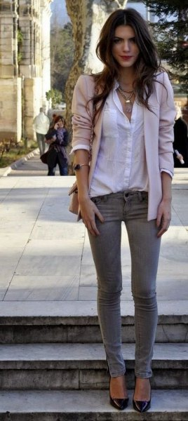 white button up shirt gray skinny jeans