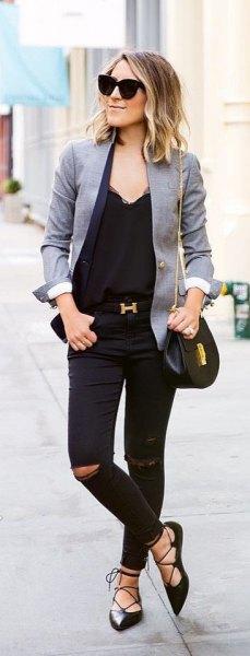 gray blazer all black outfit