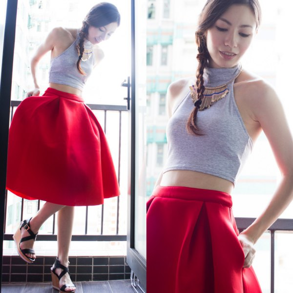 gray turtleneck halter crop top red flare skirt