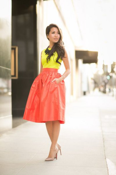 yellow top high waist red flare skirt