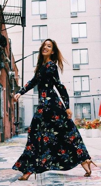 windy black maxi floral dress