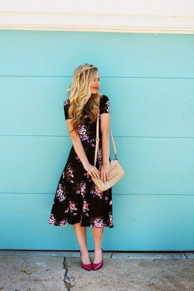 midi floral dress pale pink handbag