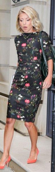 floral mantle knee length dress