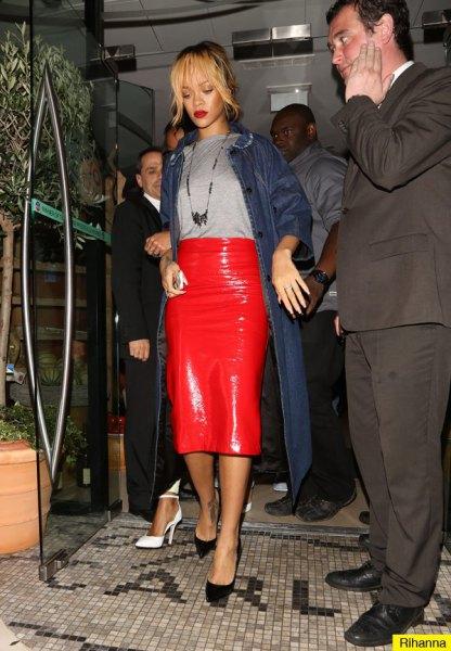 red leather midi pencil skirt maxi denim jacket