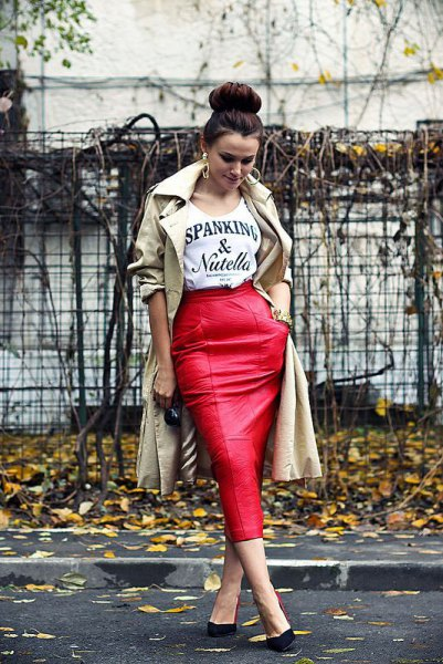 red midi leather skirt beige trench coat