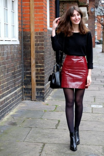 black knitted sweater red leather mini skirt