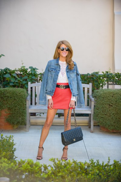 red leather skirt denim jacket white lace top