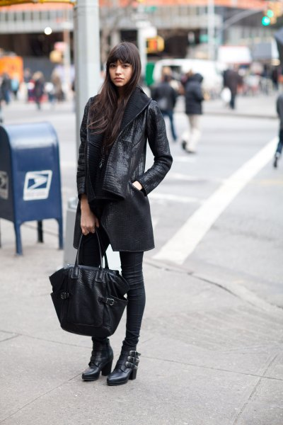 long leather jacket black skinny jeans ankle boots