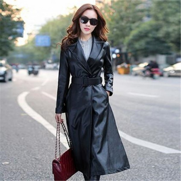 belt black leather trench coat gray knitted sweater