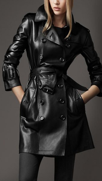 long leather trench coat socks ankle boots