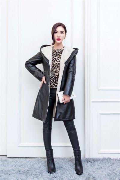 hood black long leather jacket cheetah top