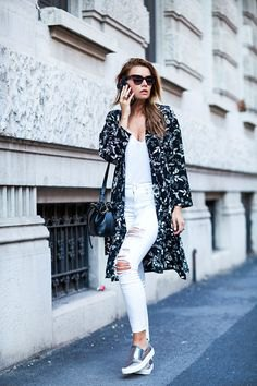 black floral longline cardigan white jeans