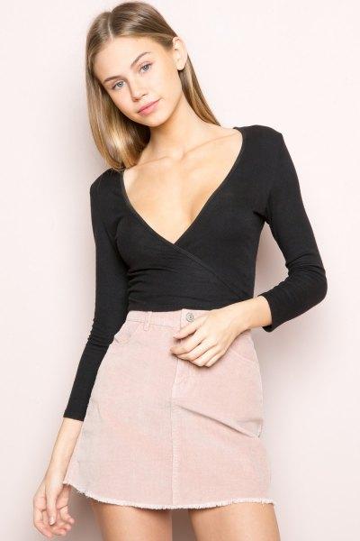 skinny fit black wrap top pink one line mini skirt