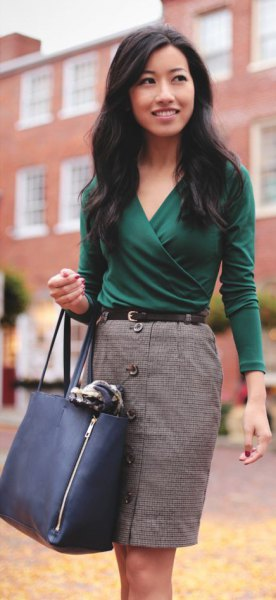 gray button front pencil skirt outfit