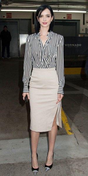 black and white striped wrap shirt light pink midi skirt