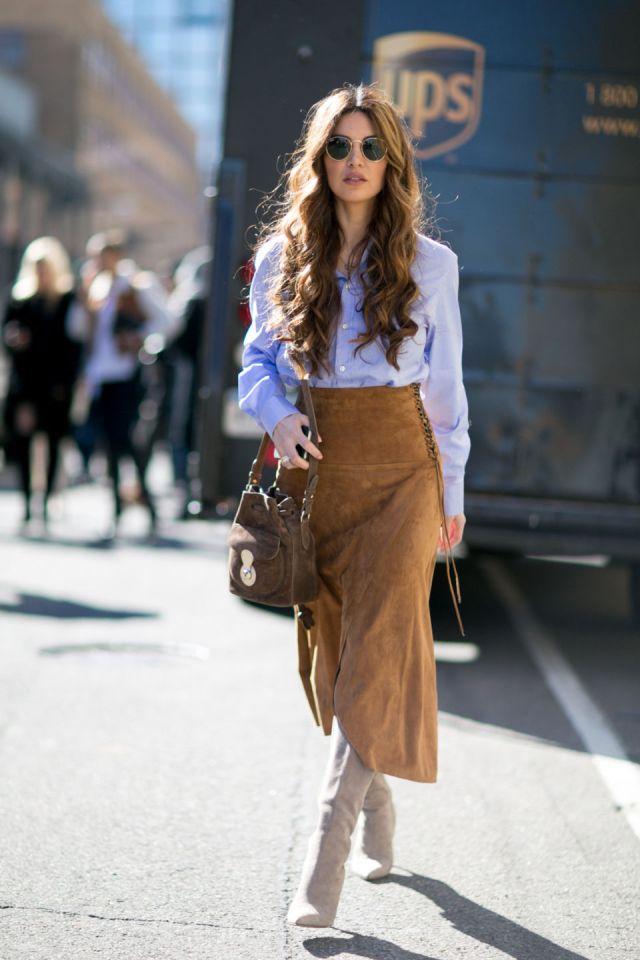 suede skirt brown blue