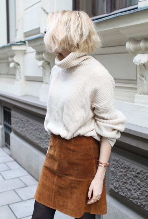 suede skirt oversized sweater