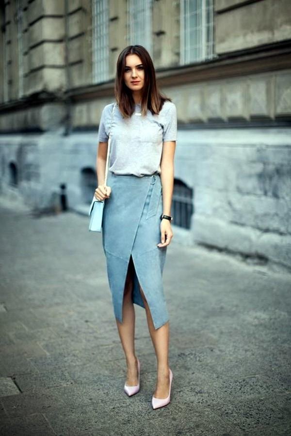 suede skirt pastel