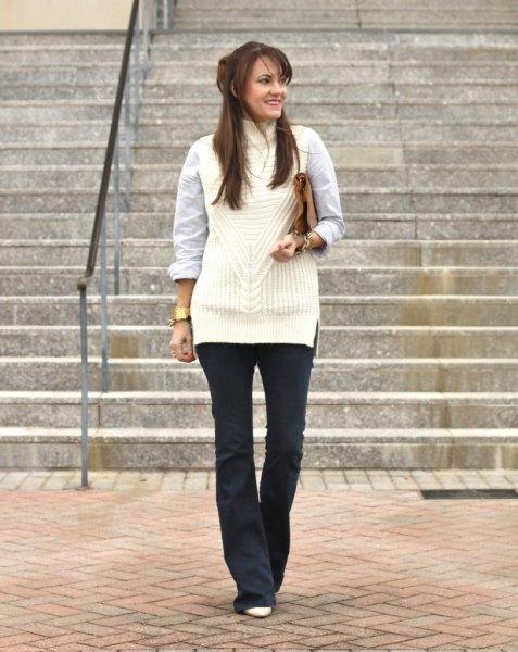 white sleeveless sweater white shirt black blown pants