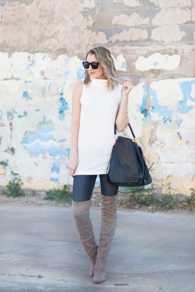 white sleeveless sweaters gray thigh high suede boots