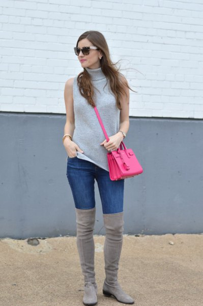 gray sweater jeans thigh high gray boots