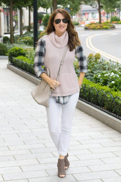 gray cowl Neck sleeveless sweater checkered boyfriend shirt