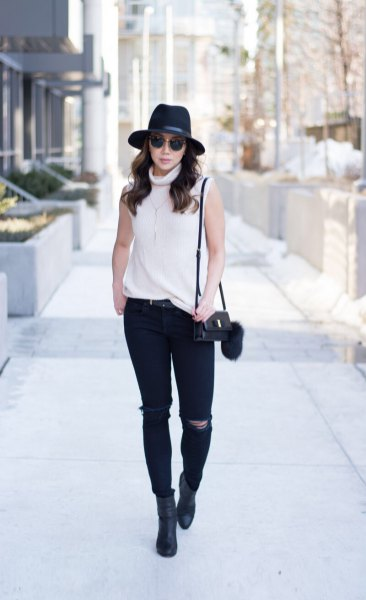 white sweater black felt hat outfit