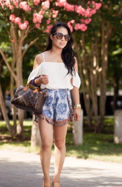 cold shoulder white blouse tribal shorts