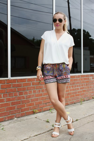 short sleeves white wrap top tribal printed shorts