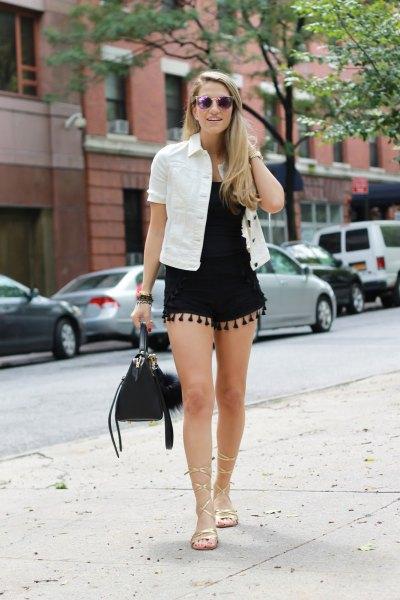 black shorts white denim shirt equipment