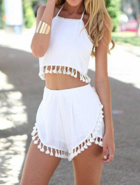 white cropped halter top matching shorts