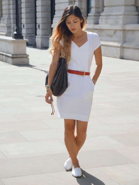 white loafers white robe dress red belt