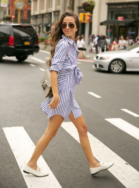 white loafers navy and white wrap dress