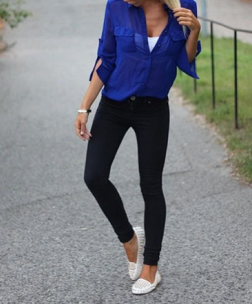 double white loafers royal blue shirt black skinny jeans