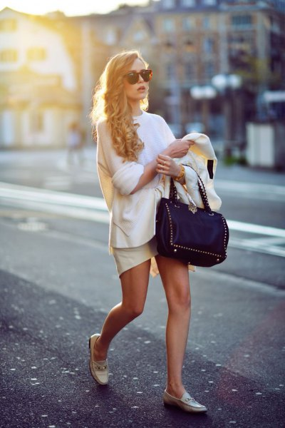white knitted sweater mini skirt