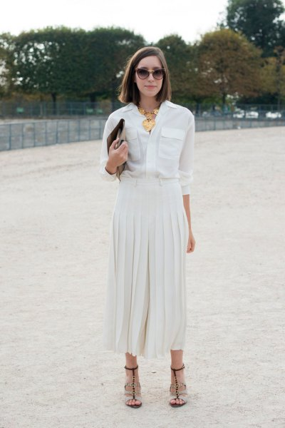 white palazzo pants chiffon button up shirt