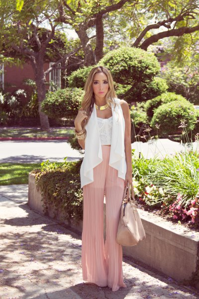 white lace top pink pants chiffon vest